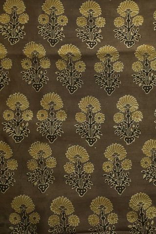 Yellow Big Daisy Floral Ajrak Chanderi Silk Cotton Fabric