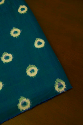 Peacock Blue with White Circles Double Ikat Cotton Fabric