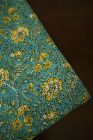 Blueish Green with Yellow Floral Block Printed Sanganeri Cotton Fabric