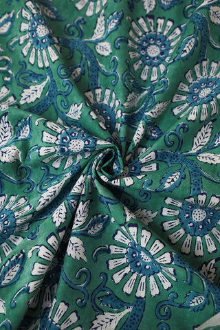 Green with Blue and White Sanganeri Cotton Fabric-2.4 m