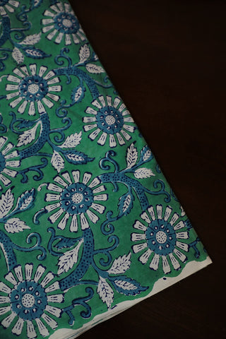 Green with Blue and White Sanganeri Cotton Fabric
