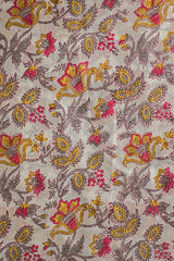 Offwhite Floral Sanganeri Cotton Fabric-1.4 m