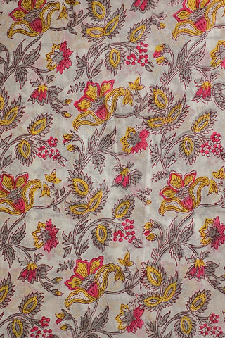 Offwhite Floral Sanganeri Cotton Fabric