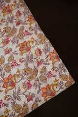 Offwhite Floral Sanganeri Cotton Fabric-0.8 m