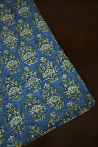 Blue Green Sanganeri Print Mul Cotton-1.2 m