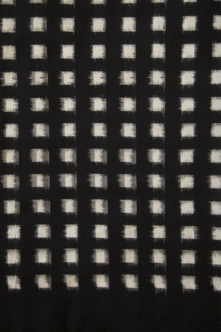 White with Black Checks Double Ikat Cotton Fabric