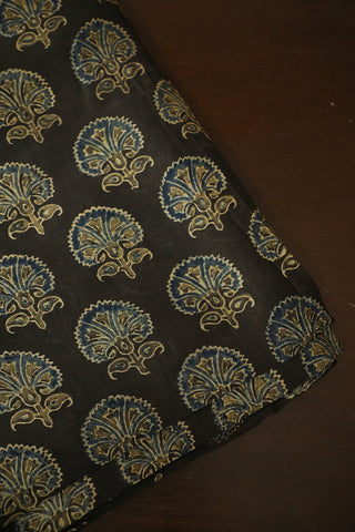 Grey with Indigo Floral Ajrak Chanderi Silk Cotton Fabric