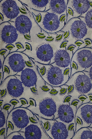 Blue Floral in Off White Sanganeri Cotton Fabric