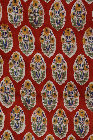 Red with Yellow Floral Sanganeri Cotton Fabric-1.3 m