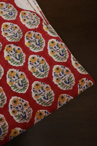 Red with Yellow Floral Sanganeri Cotton Fabric