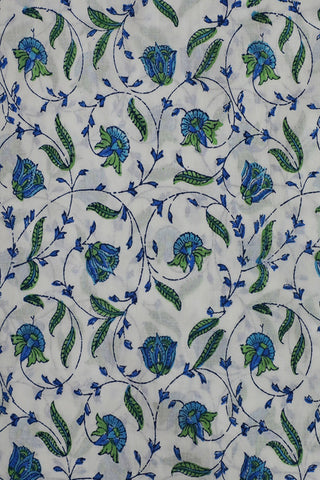 Blue and Green Floral in White Sanganeri Cotton Fabric