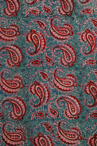 Red Paisley Sanganeri Print Mul Cotton-1.2 m