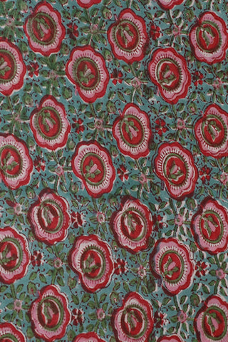 Green with Pink Floral Sanganeri Cotton Fabric