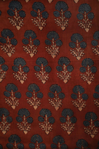 Subdued Maroon with Indigo Ajrak Chanderi Silk Cotton Fabric