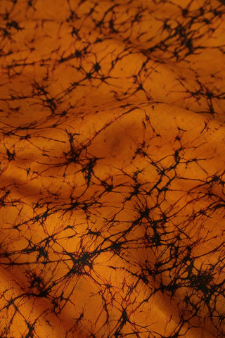Orange Batik Pattern Tussar Silk Fabric-2.4 m