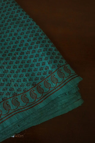Small Floral Bagh Block Printed Tussar Silk Fabric