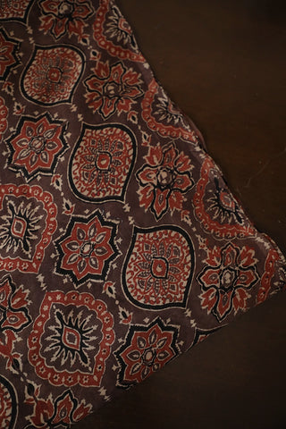 Brown Ajrak Chanderi Silk Cotton Fabric