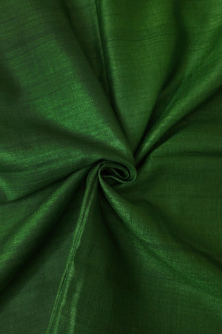 Green Desi Tussar Silk Plain Fabric