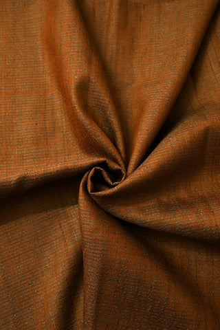 Honey Brown Pin Stripes Desi Tussar Silk Fabric-0.6 m