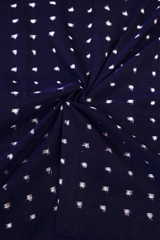 Deep Blue with White Dots Double Ikat Cotton Fabric