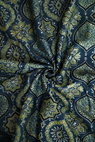 Intricate Design in Indigo Ajrak Chanderi Silk Cotton Fabric