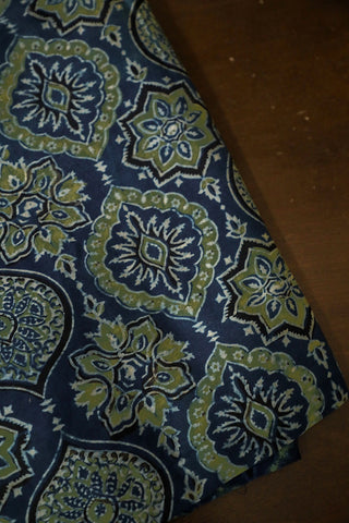 Intricate Design in Indigo Ajrak Chanderi Silk Cotton Fabric-1.4m