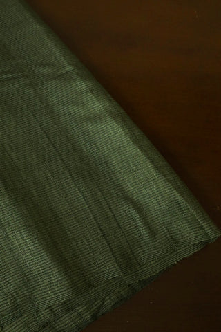 Olive Green with Black Stripes Desi Tussar Silk Fabric