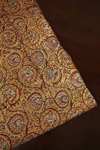 Mustard Yellow Floral Printed Kalamkari Cotton Fabric