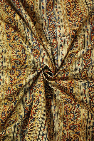 Lines with Paisley in Yellow Printed Kalamkari Fabric