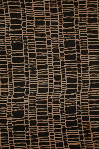 Black with Off White Lines Ajrak Cotton Fabric