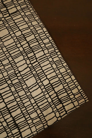 Off White with Black Lines Ajrak Cotton Fabric