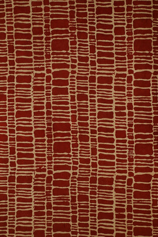 Rust Red Ajrak Cotton Fabric-0.8 m