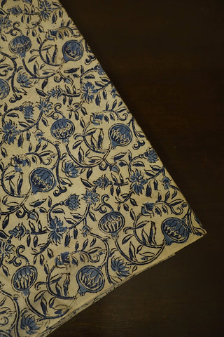 Off White with Indigo Printed Kalamkari Fabric