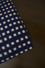 Blue with White Squares Double Ikat Cotton Fabric