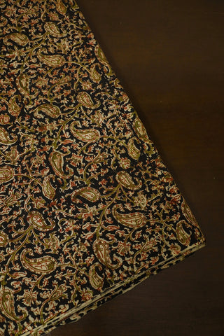 Black Paisley Printed Kalamkari Fabric
