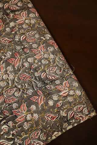 Grey with Peach Printed Kalamkari Fabric-0.55m