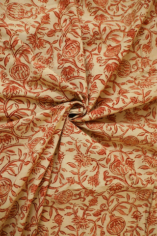 Florals in Off white Printed Kalamkari Fabric