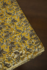 Brown Leaves in Golden Yellow Printed Kalamkari Fabric -1.6