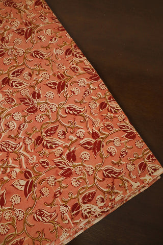 Pinkish Peach Printed Kalamkari Fabric
