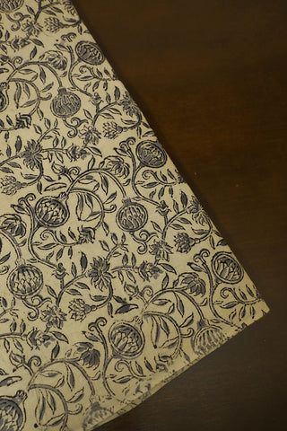Grey Floral in Off White Printed Kalamkari Fabric