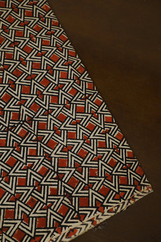 Rust Red with Off White and Black Ajrak Cotton Fabric