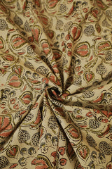 Leaf in Off White Printed Kalamkari Fabric