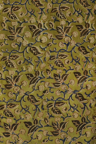 Leaves in Green Printed Kalamkari Fabric