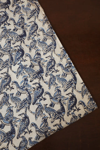 Blue Birds in Off White Printed Kalamkari Fabric