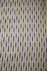 Off White with Blue Handwoven Ikat Cotton Fabric-1 m