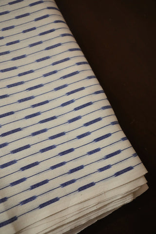 Off White with Blue Handwoven Ikat Cotton Fabric