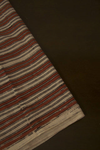 Beige with Rust Red Lines Hand Block Printed Cotton Fabric-1m