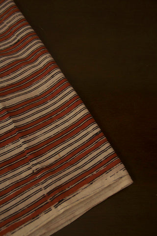 Beige with Rust Red Lines Hand Block Printed Cotton Fabric