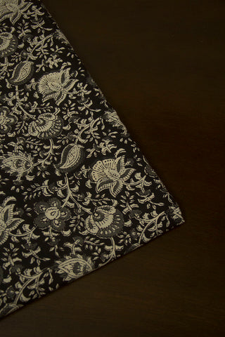 Black with Beige Flower Floral Hand Block Printed Cotton Fabric