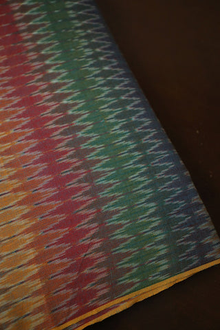 ZigZags in Multi Colour Handwoven Ikat Fabric